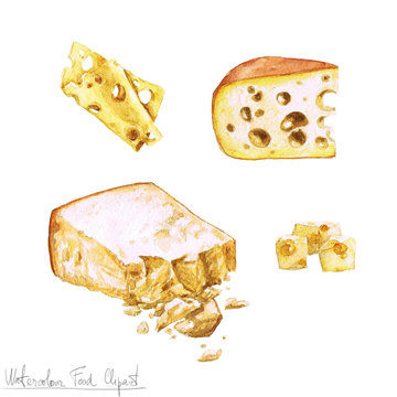 Watercolor Food Clipart - Dairy Products and Cheese