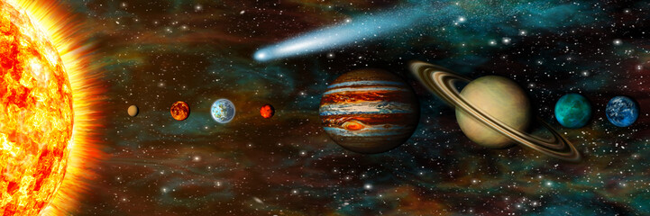 Wall Mural - Realistic Solar System, planets in a row, ultra-widescreen