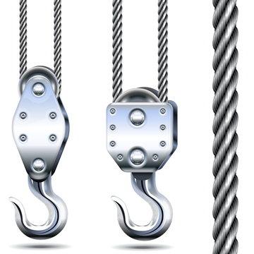 Vector Crane Hooks and Steel Rope