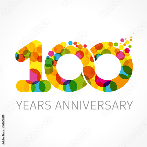 100 Years Anniversary Infinity Color Logo Template Logo 100th