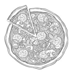 Sliced pizza isolated on white background. Hand drawn sketch vector illustration