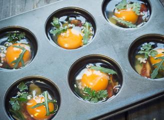 preparing egg muffins