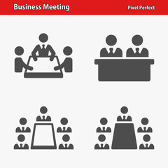 Business Meeting Icons. Professional, pixel perfect icons optimized for both large and small resolutions. EPS 8 format.