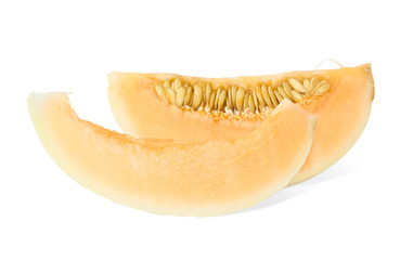 fresh ripe melon with slice isolated on white