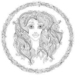 Pattern for coloring book. Zodiac Virgo.