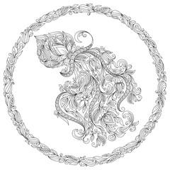 Pattern for coloring book. Zodiac Aquarius.