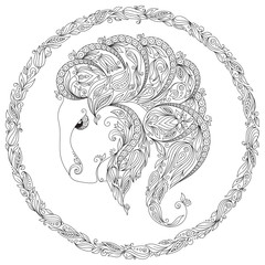 Pattern for coloring book. Zodiac Capricornus.