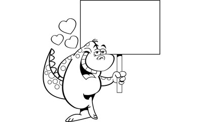 Black and white illustration of a dinosaur in love and holding a sign.