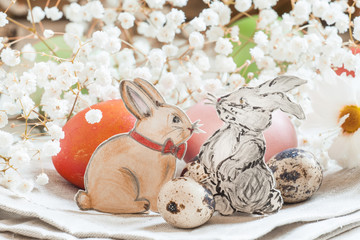 Happy easter! Lovely rabbits painted pencil, beautiful colored e