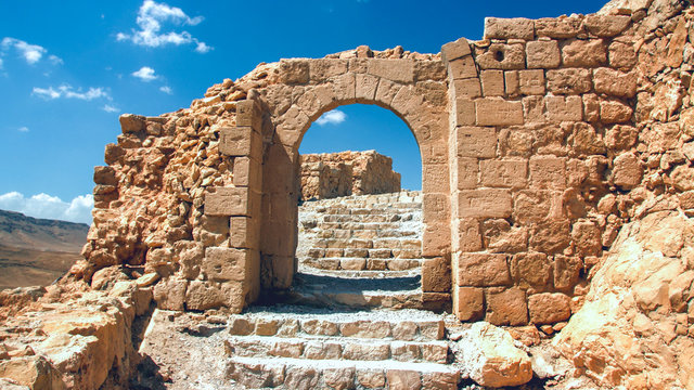 Shattered the gateway to the ruins of the fortress of Masada in Israel