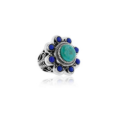 Beautiful Turquoise and Lapis Flower Ring in Sterling Silver