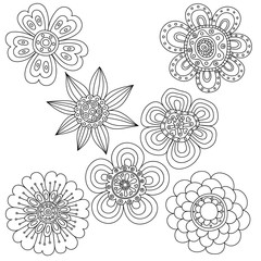 Set of abstract floral elements. Hand drawn doodle. Vector illustration.