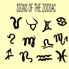 Set of zodiacs signs painted by hand.  Grunge collection.