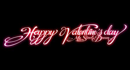 text design for Valentine Card on black background