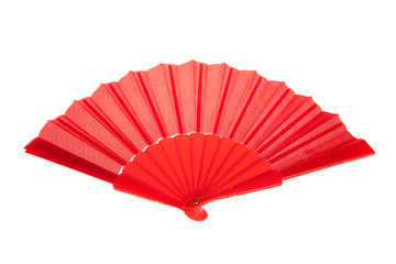 Red Open Hand Fan Isolated on a White