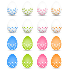 Set of colored Easter eggs on a white background