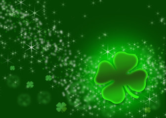 St. Patrick's Day Holiday background graphic in shades of Green.  Lighting affects with blended stars, shamrocks and flares.  Explosion of light.