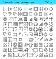 Vector geometric icons for UX/UI tools and mobile prototypes