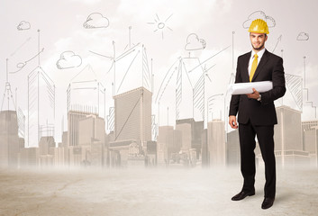 Business engineer planing at construction site with city backgro