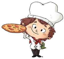 niño cocinero con pizza