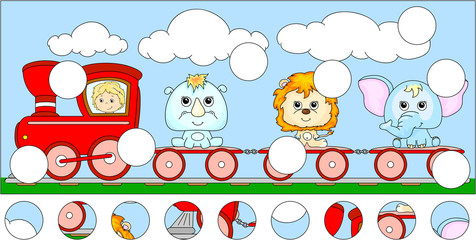 Funny cartoon train with lion, elephant and rhino. Complete the