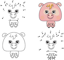 Funny cartoon pig. Vector illustration. Coloring and dot to dot