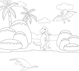 Funny cute pterodactyl, pliosaur and tyrannosaurus. Educational