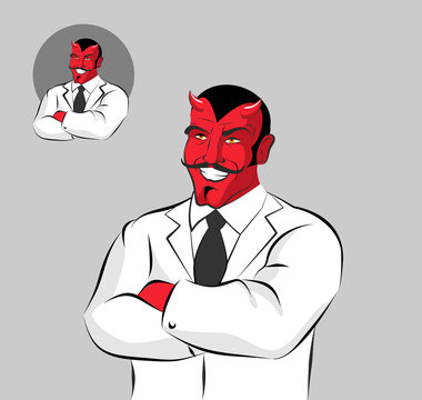 Devil doctor. Satan with horns in doctors white coat. Horrible R