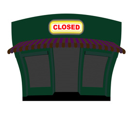 Shop is closed. Glow plaque on facade of store. Shop building at