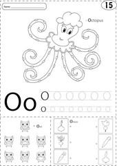 Cartoon octopus, owl and onion. Alphabet tracing worksheet: writ