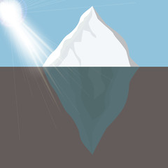 Cold Iceberg in Ocean Under Sun Shine. Vector Illustration.