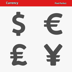 Currency Icons. Professional, pixel perfect icons optimized for both large and small resolutions. EPS 8 format.