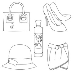Set of outlined shoes, bag, skirt, hat and perfume bottle on white background. Vector illustration.