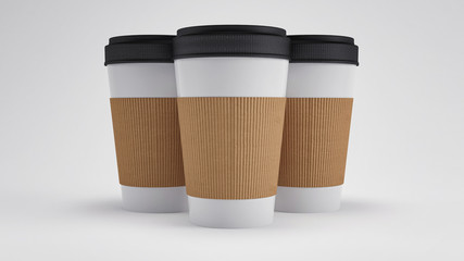 Blank Coffee Cups Isolated (3D Professional Render)
