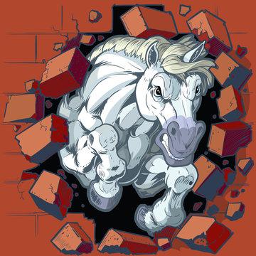 White Horse Mascot Crashing Through Wall Vector Illustration