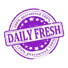 Damaged Round purple stamped - daily fresh - vector eps