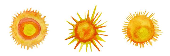 Sun watercolor icons set