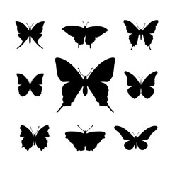 Set of black simple butterfly shapes - Illustration
