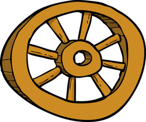 Cartoon wooden wheel