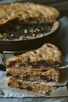 Skillet cookies - skillet baked chocolate chip cookie, selective focus