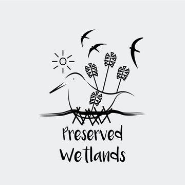 Preserved Wetlands vector over white color background