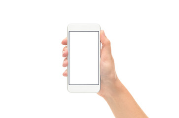 Hand Holding New Silver Smart Phone with Blank Screen