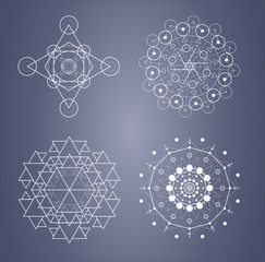 Sacred geometry mystery signs and symbols in vector