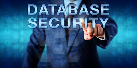 Librarian Pushing DATABASE SECURITY Onscreen