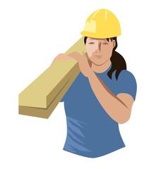 construction woman, vector