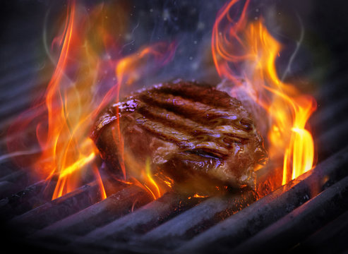 A sizzling steak on the grill