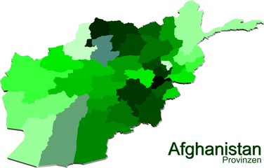A Map of Afghanistan and provinces in Green