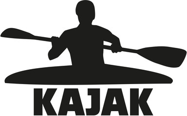 Kayak silhouette with word