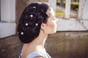 Hairstyle of sensual fashion young woman