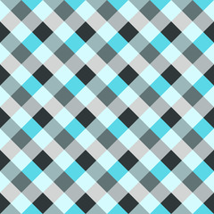 Seamless geometric checked pattern. Diagonal square, woven line background. Patchwork, rhombus, staggered texture. Gray, blue colors. Winter theme. Vector